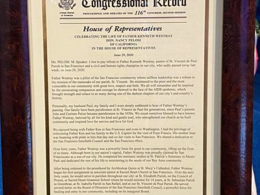 Congressional Record recognition by Congresswoman Nancy Pelosi
